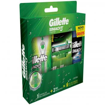 KIT GILLETTE MACH 3 AQUAGRIP SENSITIVE 1 APARELHO+3 CARTUCHOS+1 GEL DE BARBEAR