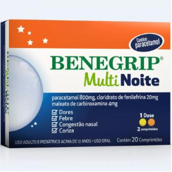 Benegrip Multi Noite 800mg + 20mg + 4mg 20 comprimidos